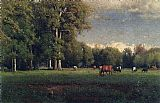 George Inness Landscape with Cattle painting